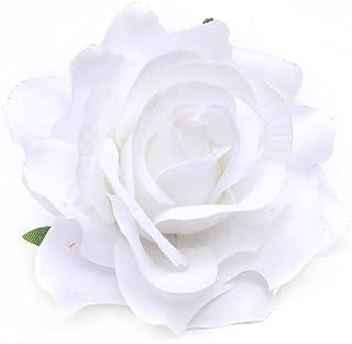 1pc Frauen Rose Blume Haar Clip Haarspange Corsage Brosche Hochzeit Party Decor, weiß, einheitsgröße