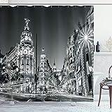 N\A Schwarzweiss-Duschvorhang, Madrid-Stadt bei Nacht in Spanien Hauptstraßenarchitektur, Stoff-Stoff-Badezimmer-Dekor-Set mit Haken, grau