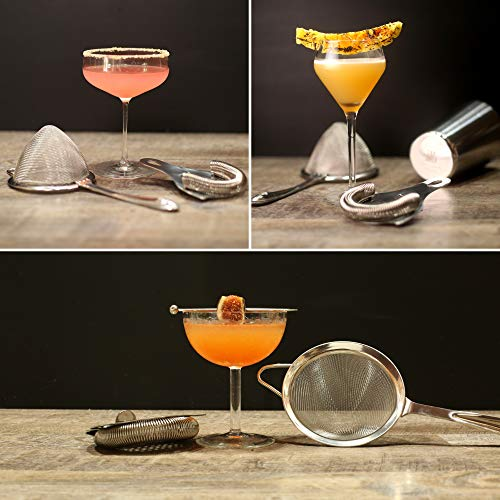 Cocktail Strainer Set: Stainless Steel Hawthorne Strainer, Julep Strainer and Conical Fine-Mesh Strainer by Top Shelf Bar Supply