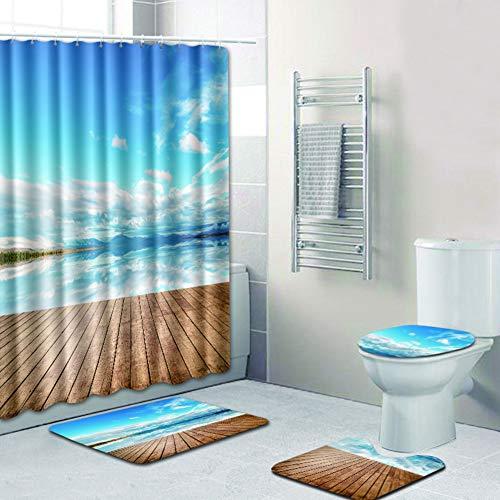 Tomorrow Sun Shine Ocean Scenery Duschvorhang-Set Badezimmer-Matten eingestellt Rutschfester Teppichboden WC-Abdeckung Wasserdichter Vorhang aus Polyestergewebe Flanell-Badteppiche 9 Stile,193,S