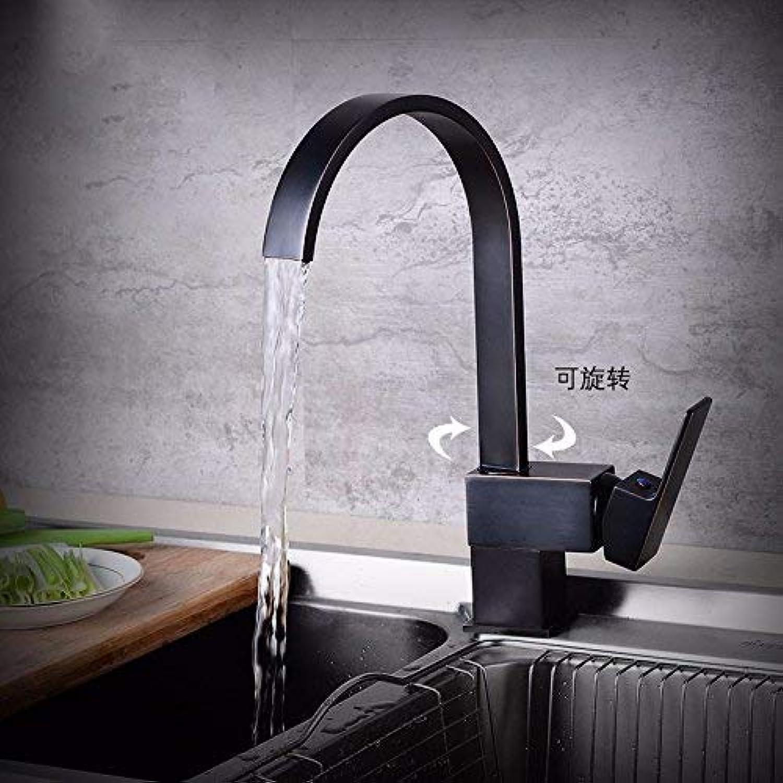 CFHJN Home Kupfer Minimalist Retro In Style und Becken Küchentoilette Rotation Heie und kalte Schwarze Spültischarmatur
