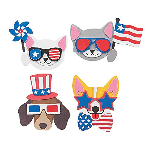 Fun Express Patriotic Pets Magnet Craft Kit - Makes 12 - Fourth of July Crafts for Kids