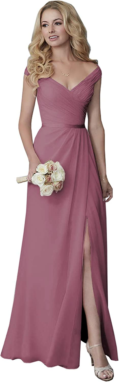 Yilis Women's Off The Shoulder Pleated Chiffon Bridesmaid Dresses Long Slit Formal Evening Party Gown