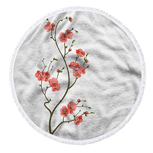 oFloral Cherry Blossom Round Beach Towel Blanket Beautiful and Simple Atmosphere for Women 60 X 60 Inch Microfiber Beach Towels with Tassels Ultra