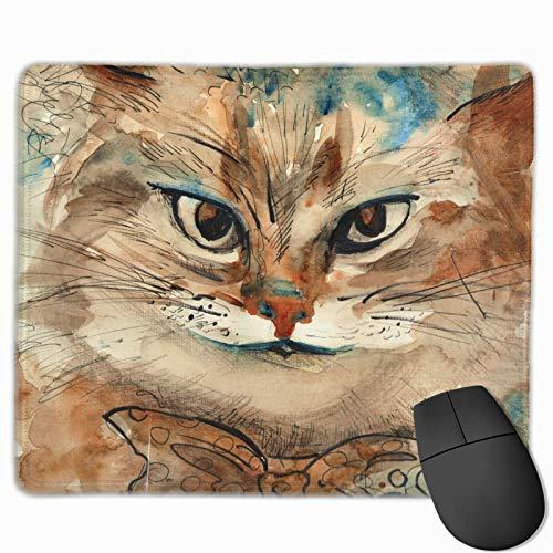 Rechteck Mauspad Krawatte Katze Lächeln Aquarell Durchmesser Spielecomputer Laptop Mousepad mit genähter Kante Gummibasis, rutschfest bequem langlebig, wasserdichte Mausmatte