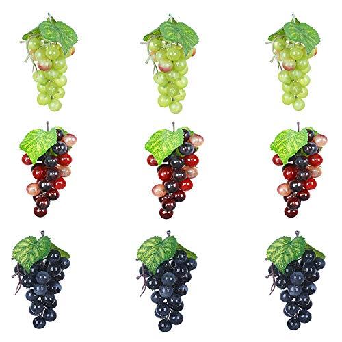 Outgeek Artificial Grapes, Artificial Grapes Mini Grape Clusters Rubber Fake Grape Bundles Decorative Grapes Hanging Ornaments for Vintage Wedding Favor Fruit Wine Decor Faux Fruit Props