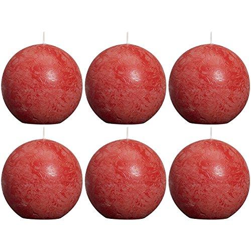 bolsius 103868090341 Rustik Kugelkerze, Ø 8 cm, rot (6er Pack)