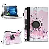 NAUC Schutzhülle kompatibel für Xido Z120 Z110 X111 X110 Tablet Tasche aus hochwertigem Kunstleder Universal 10.1 Hülle Standfunktion 360 Drehbar, Farben:Motiv 1