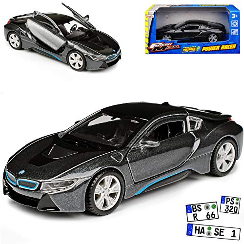 B-M-W I8 Coupe Grau Schwarz Ab 2013 ca 1/43 Maisto Modell Auto mit individiuellem Wunschkennzeichen