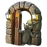 su-xuri Charmante Courtyard Statue De Dragon De Jardin, Statue De La Résine De Jardin De La Fenêtre pour La Terrasse Patio Yard Art Décor, Ornements D'extérieur D'intérieur (15 x 11.5 x 2.8cm)