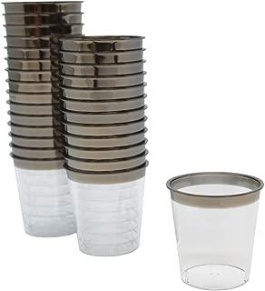 Just Artifacts 1oz Plastic Shot Glasses 120pcs Metallic Dark Silver Rim