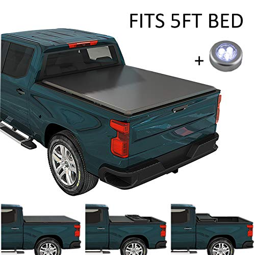 CARMOCAR Soft Tri-Fold Tonneau Cover | 5FT Short Bed | Pickup Truck Bed Covers for Nissan Frontier 2005-2020 | Truck Bed Cover Accessories with Led Light Replacement