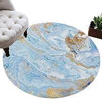 カーペット 円形 ラグマット 青い 大理石 抽象 金色 じゅうたん シャギーラグ 絨毯 ふわふわ マイクロファイバー 防音 滑り止め付 床暖房 ホットカーペット対応 おしゃれ 直径 100cm