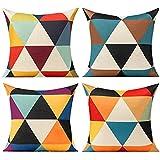 All Smiles Fundas de Cojines y Almohada Triángulo Geométrico Exterior Colorido Cubierta 45X45cm, 4PC Amarillo Azul Púrpura púrpura Rojo