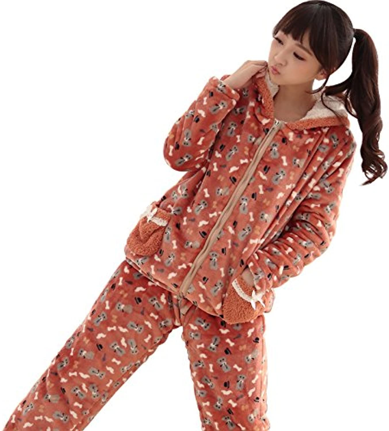 DMMSS Women 'S Flannel Pajamas 2  Piece Set Winter Thick Long  Sleeved Home Service Hooded Pajamas Set