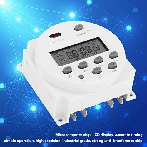 DAUERHAFT Interruptor de Temporizador de Potencia de Control Digital LCD CN101A Eléctrico doméstico para Equipos de radiodifusión, etc.