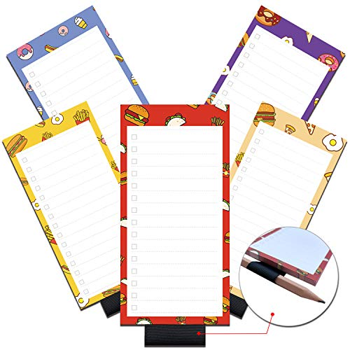 5 Pack Magnetic Notepads with Pen Holder for Fridge, Full Magnet Back Notepad, To Do List, Grocery Shopping, Fast Food Theme, 6 x 3 Inches, 50 Sheets, Memo Pad for Fridge, Locker, File Cabinet, etc