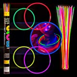 Crown Display 100 22' Glow Necklaces Light Neon Glow Stick - Assorted Colors WHOLESALE PACK