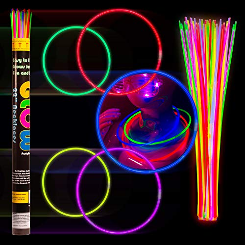 """Crown Display 100 22"""" Glow Necklaces Light Neon Glow Stick - Assorted Colors WHOLESALE PACK"""