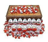 12 Kinder Überraschungseier + 300g Schokobons mit Geschenkkarton in Schatzkisten Optik