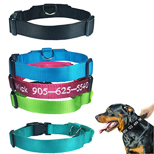 BIHU Personalized Dog Collar, Custom Dog Collar with Pet Name and Phone Number, Dog Collar with Name Plate, Dog Collar with Handle (H)