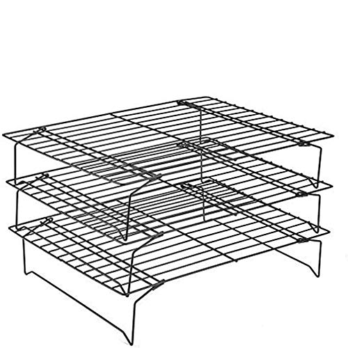 Sq Back Stainless Steel Grate Non-Stick Coating for Cooling and Baking, Three Levels Cooling Grid for Cookies Cake Bread,Black