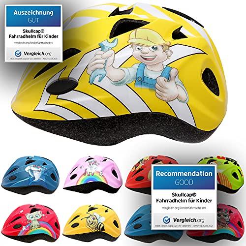 Skullcap® Fahrradhelm für Kinder Helm für City-Roller, Longboard, Scooter - Gelber Helm für Inliner, Schlittschuh/Rollschuh von Kindern gestaltet - von Profis gebaut, Bauarbeiter…