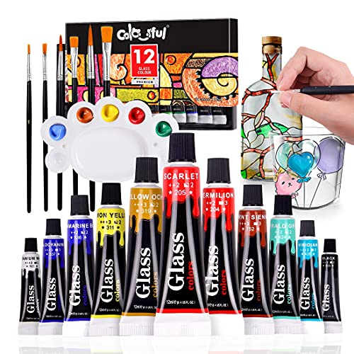 COLORFUL Glass Paint Set with 6 Nylon Brushes, 1 Palette, 12 Colors Vibrant Glass Paint for Wine Glasses, Light Bulbs, Waterproof Acrylic Enamel Painting Kit for Kids to Create Translucent Arts on Porcelain, Windows and Ceramics