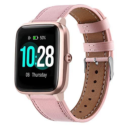 WATORY Ersatz für ID205L Armband, Quick Release Premium Echtleder Leder Ersatzarmband Uhrenarmband für ID205L/ willful SW021/ YAMAY SW021/LIFEBEE ID205L Smartwatch, Rosa