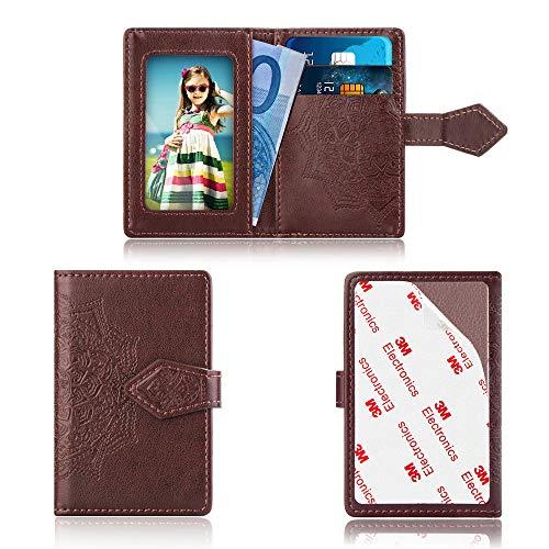 Universele draagbare Mini 3M zelfklevende Sticker Hoes Reizen Telefoon Portemonnee Stand Case Stick op Tablets/Telefoon/Portemonnee/Car Zonnevizier: 2 kaartsleuven/Houder+Cash Pocket