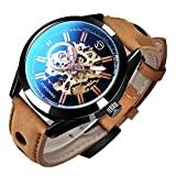 Mens Watches, Mechanical Skeleton Automatic Self-Winding Steampunk Watch for Men, Casual Clock Brown Leather Wrist Watch