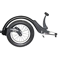 FreeWheel Wheelchair Attachment with Pneumatic Tire for Standard Frames and Standard Footrests (Black)