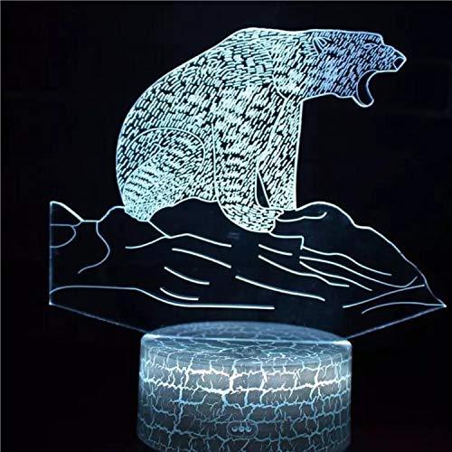 Hermoso oso polar base agrietada luz nocturna luz de neón creativa luz nocturna multicolor luz LED acrílico luz visual 3D
