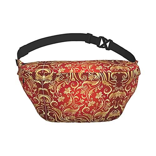 Riñonera Vintage Rojo Dorado Adornado Elegante Estampado Floral de Gran Capacidad Bolso de Pecho con Correa de Hombro Ajustable riñonera