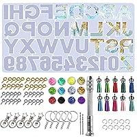 アルファベット 樹脂鋳造型 73個 文字&数字 シリコンエポキシ樹脂モールド キーチェーン ジュエリーペンダント用 ハンドドリル キーチェーン スパンコール スプリットリング タッセル 爪