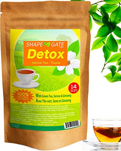 ShapeGate Skinny Detox Tea (14 Days) - Targets Belly Fat + Weight Loss - Colon Cleanse - Constipation & Bloating relief - Laxative effect - Slim & Diet Tea - Green Tea + Senna + Ginseng