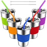 Kids Cups with Lids and Straws,12oz Spill Proof Kids Tumbler with Straw,Stainless Steel Unbreakable Kids Drinking Glasses with Lid,Leak Proof Toddler Sippy Cups with Lid for Kids and Adults