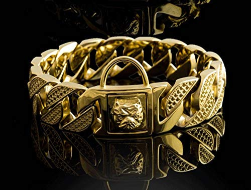 Cuello de Perro Bully 32 mm Cadena de Oro de Acero Inoxidable Perro Grande Pitbull Bulldog Collar francés Calidad Personalizada Collar de Mascota fuerte-32mm sin Diamante_5XL 32mmx75cm