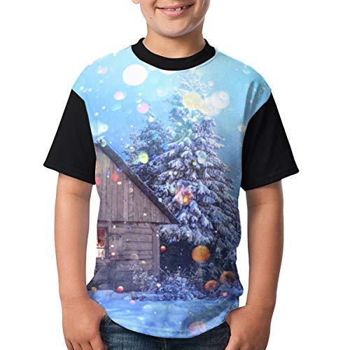 Escena fantástica Snowy House Evening Forest Niños Adolescentes Camiseta clásica Camiseta Divertida M