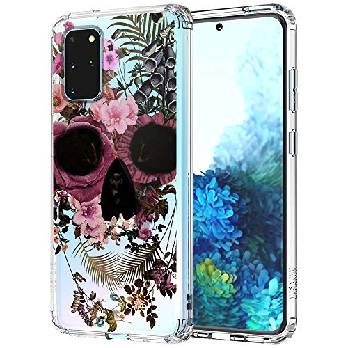 MOSNOVO Galaxy S20 Plus Case, Floral Skull Flower Clear Design Printed Transparent Hard Back case with TPU Bumper Protective Case Cover for Samsung Galaxy S20 Plus