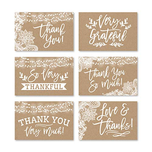 24 Rustic Kraft Thank You Cards With Envelopes, Great Note For Adult Funeral Sympathy or Gift Gratitude Supplies For Grad, Birthday, Baby or Country Vintage Bridal Wedding Shower For Boy or Girl Child