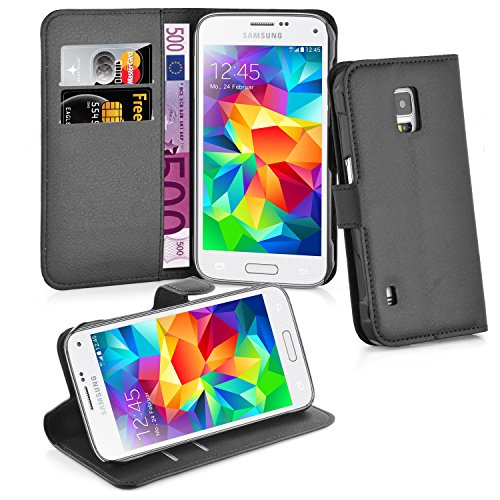 Cadorabo Book Case Works with Samsung Galaxy S5 Active in Oxid Black – with Magnetic Closure, Stand Function and Card Slot – Wallet Etui Cover Pouch PU Leather Flip