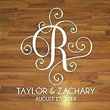 Elegant Scroll Monogram Reception Decor, Personalized Wedding Dance Floor Decal, 30 Colors & Several Sizes