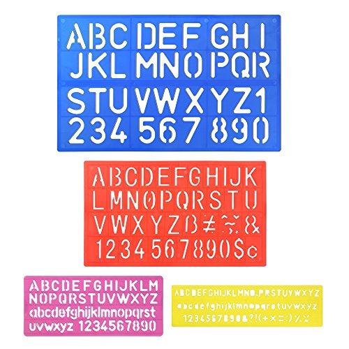 biging 4piezas Diseño de letra plantillas del alfabeto número Craft Regla Juego De Guías De Plástico carta plantillas decorativas, varios colores