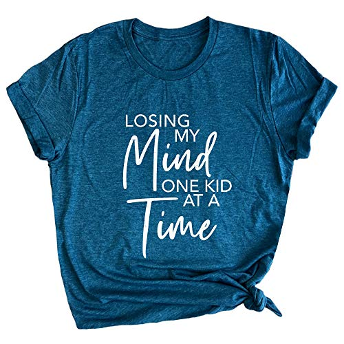 Spunky Pineapple Losing My Mind One Kid at a Time Funny Mother's Day Premium T-Shirt Steel Blue