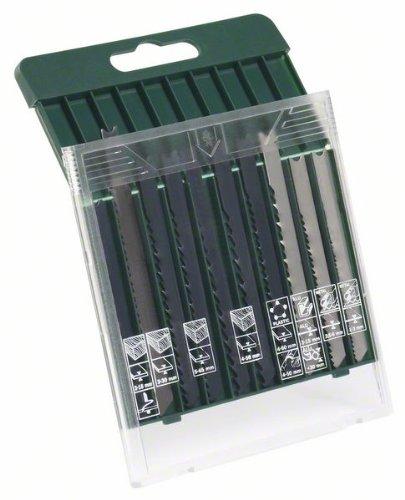 Bosch 2607019460 Decoupeerzaagbladen, 10-delige set, U-schacht, voor hout, metaal, kunststof, 10-delig