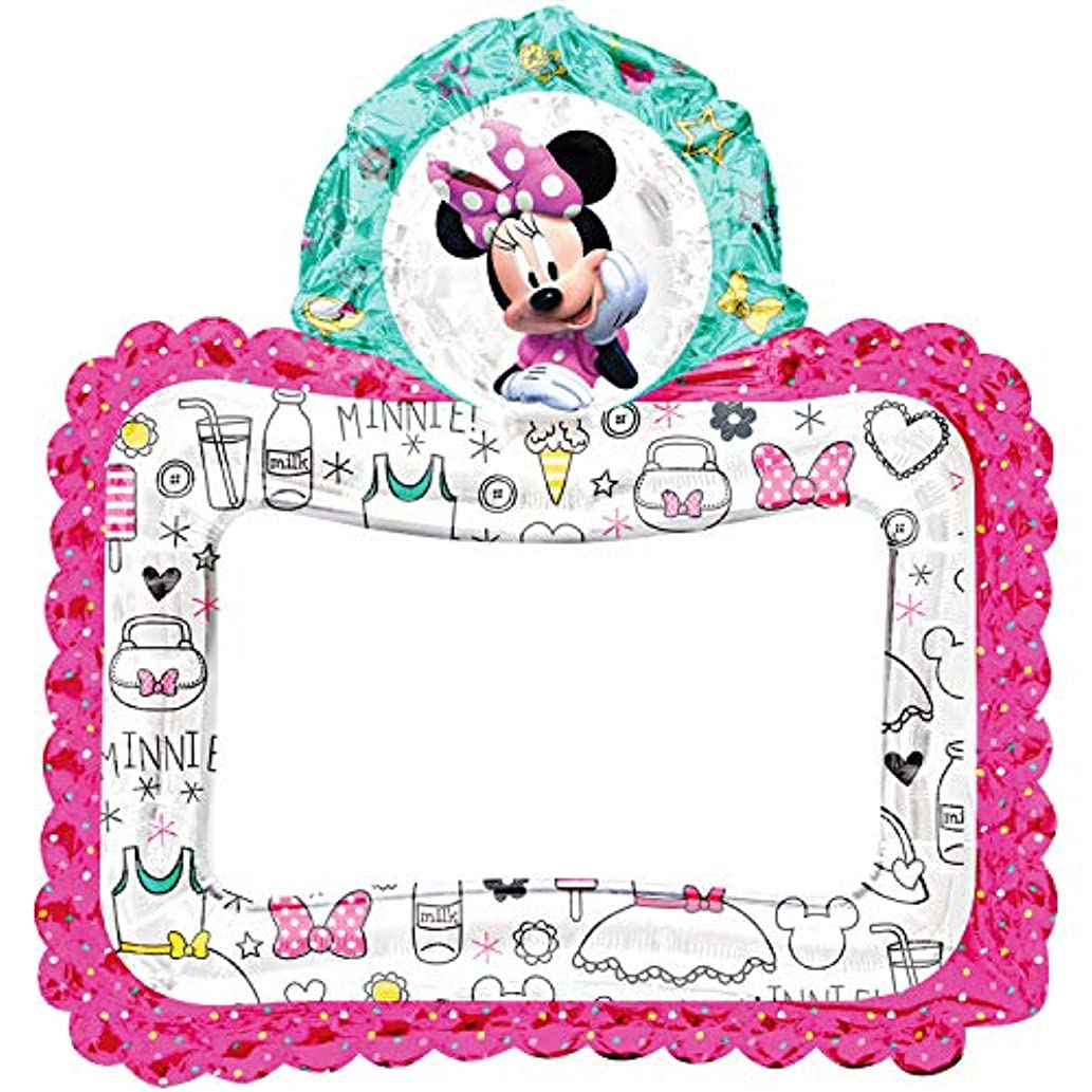 Anagram International, Inc. 92041 Minnie Happy Helpers Selfie Frame - Consumer Inflated Party Balloon, 27