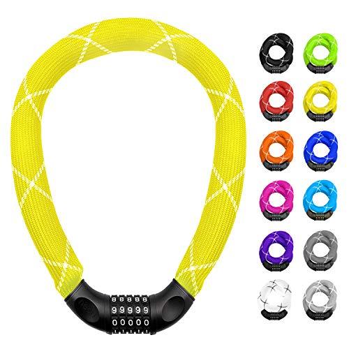 nean lucchetto per biciclette con numeri e rivestimento in tessuto estremamente robusto, serratura a catena per bici a combinazione di codici numerici, 6 x 6 x 6 x 900 mm (giallo)