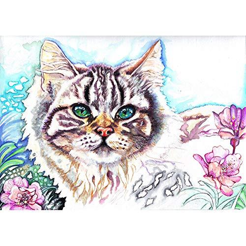 Ryokozashi Kit de pintura para manualidades con diamantes de imitación, diseño de gato