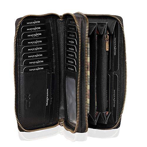MATADOR Damen/Frauen Geldbörse RFID Schutz Portemonnaie Rinds Leder Geldtasche mit Doppelter Metall Reißverschluss viele Kartenfächer (Schwarz)
